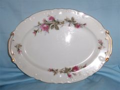 "SERVING PLATTER Meat Platter 12.5"" Long Lipper and Mann Pompadour Rose"