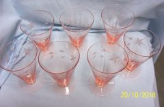 PINK DEPRESSION GLASSWARE: Set (7) Etched Pink Depression Glass Etched Ice Tea Glasses