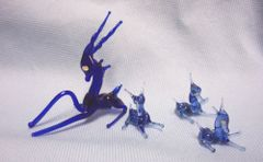 MINIATURES: Vintage Blue Blown Glass Mother Gazelle with (3) Babies Collectible Figurines
