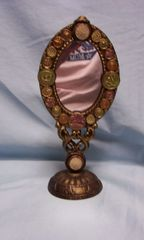 MIRROR: Vintage Hand-crafted Gold Color Mirror with Replicas Antique Buttons