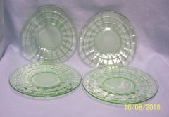 PLATES: Green Depression Glass (4) Bread & Butter Plates by Anchor Hocking - BLOCK OPTIC