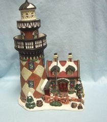 LEMAX - Carole Towne Collection Ceramic Christmas Village Cape Liberty Light House 2005