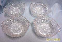 BERRY BOWLS: Vintage Set of (4) EAPG Berry Bowls/Dessert Bow0ls with Double Diamond Pattern