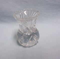 "TOOTHPICK HOLDER/MINI VASE: Vintage Cut Glass Toothpick Holder, Mini Bud Vase Fan Design 2 3/4"" H"