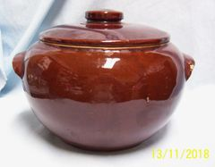 BEAN POT: Vintage Brown Glazed Stoneware Crock Bean Pot and Lid made in USA