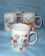 CUPS Set of (4) Unique Coffee Cups, Mugs Ivory Color Fruit Design Xiangtangpai