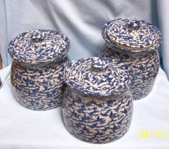 CANISTERS: Set of (3) Cobalt Blue & White Ceramic Kitchen Canisters with Knob Lids