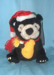 "MUSICAL: Woodland Caroler 9"" Honey Black Bear in Holiday Outfit - Plays Sugar, Sugar"