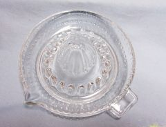 REAMER: Unique Clear Depression Glass Juice Reamer with Seed Dam & Spout 1940s