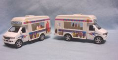 ACTION TOY: Pair Diecast Ice Cream Trucks Pull Back Action Doors Open Kinsfun 1:32 Scale