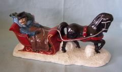 "HOLIDAY DECORATION: Handcrafted 1982 Sleigh and Horse Village Accessories 7"" L x 3.5"" tall"