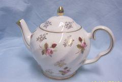 TEA POT: Vintage Teapot & Lid by Price Kensington #3818 Silver Floral Roses & Decorations with Gold Trim