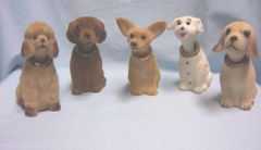 "NOVELTY ITEM: Set (5) Bobbing Head Dogs Collectible Nodding Head Dogs 4 1/2"" T"