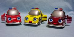 TOYS: Set (3) Diecast Metal Whimsical IQ Cars Highway patrol/Fire Dept Pull Back Action Eyes & Tonque move