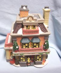 CHRISTMAS VILLAGE BULIDING: Fiber Optic THE TOY SHOP Ceramic by Hofter's No. 6402