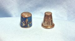"Thimbles: Pair Mexican Silver Thimbles with Abalone Design 1 1/8"" Tall Set #11"