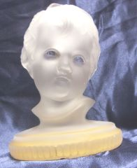 BOOKEND/FIGURINE: Vintage Viking Glass Company presents Child's Face Bookend/Figurine