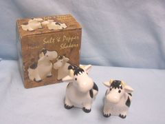 "SALT & PEPPER SHAKERS: Collectible Cow Salt & Pepper Shakers w/Box Dolomite 3 1/2"" Tall Kitchen Decor"
