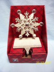 STOCKING HOLDER: White Snowflake Metal Stocking Holder by Living Quarters