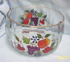 SERVING BOWL: Gorgeous Optic Venetian Fruit Glass Bowl 22K Gold Trim