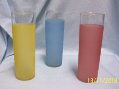 "VINTAGE BEVERAGE GLASSES: Set of (3) Unique 7"" Slim Frosted Glasses in Pink, Blue, & Yellow"