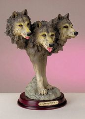WOLF ANIMAL FIGURINE - Collectible Wildlife Three Heads Wolf Pack Figurine