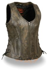 Distressed Brown Women's Leather Motorcycle Vest MLL4531