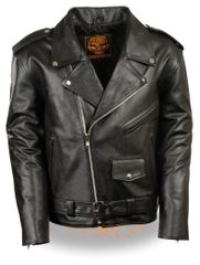 Youth Leather Traditional Style Biker Jacket LKY1950