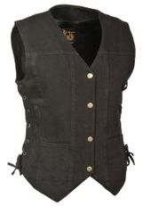 Ladies Denim Snap Front Vest, 6 Pockets & Side Laces MDL4020