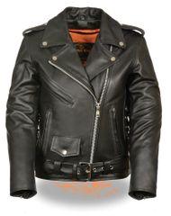 Women's Leather Full Length Traditional Police Biker Jacket LKL2700