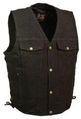 Men's Side Lace Denim Vest w/ Chest Pockets DM1360