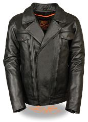 Men's High End Utility Pocket Vented Cruiser Leather Motorcycle Jacket MLM1520