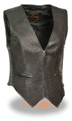 Ladies Zipper Front Black Leather Vest Side Stretch Sides SH1288