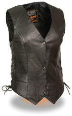 Ladies Black Leather Classic Side Lace Biker Vest ML1254
