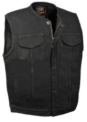 Men's Collarless Denim Club Vest w/ Hidden Zipper MDM3001