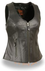 Ladies Black Leather Open Neck Zipper Front Motorcycle Vest MLL4530