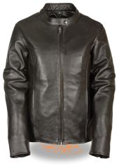 Women's Leather Classic Scooter Biker Jacket w/Snap Collar LKL2720
