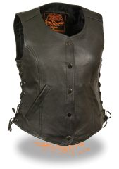 Women's 5 Snap Black Leather Vest w Side Lace, Gun Pockets LKL4700