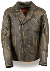 Men's Leather Triple Stitch M/C Motorcycle Jacket MLM1515