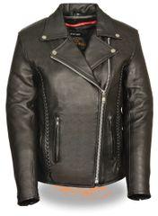Women's Leather Biker Jacket w/Braid & Stud Detailing LKL2710