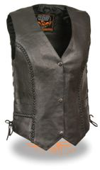 Ladies Black Leather Braided Seams Side Lace Biker Vest ML1255