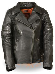 Ladies Black Leather Fitted Beltless Vented Biker Jacket w Rivet Detailing MLL2585