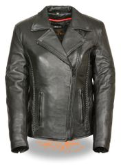 Women's Leather Blacked Out Biker Jacket w/Braid & Stud Detailing LKL2711