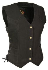 Ladies Denim 3 Snap Biker Vest MDL4001