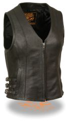 Ladies Black Leather Zipper Front Side Buckled V-Neck Vest MLL4510