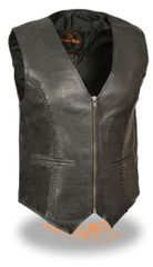 Ladies Zipper Front Braided Black Leather Vest SH1246Z