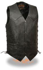 Men's Classic Side Lace Leather Biker Vest w/Gun Pockets SH1397