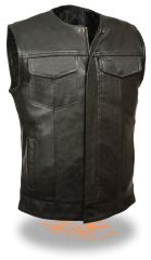 Men's Collarless Snap/Zip Front Club Vest LKM3711