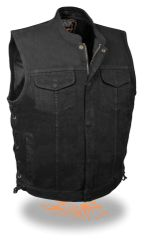 Men's Side Lace Denim Club Vest w/ Hidden Zipper MDM3002