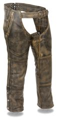Men's Milwaukee Leather Distressed Brown Four Pocket Motorcycle Chap w/Snap Out Thermal Liner MLM5500